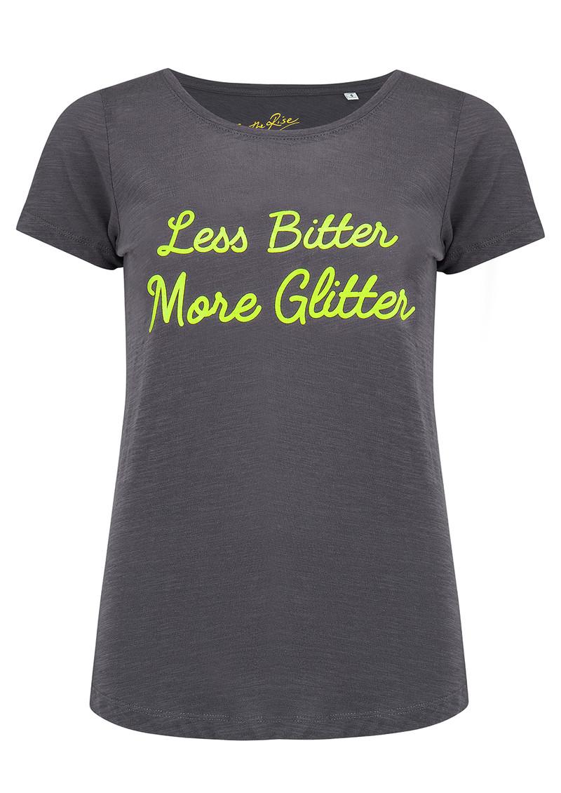 ON THE RISE Less Bitter More Glitter Tee - Dark Grey & Neon Yellow main image