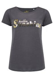 ON THE RISE Hello Sunshine Tee - Dark Grey & Gold