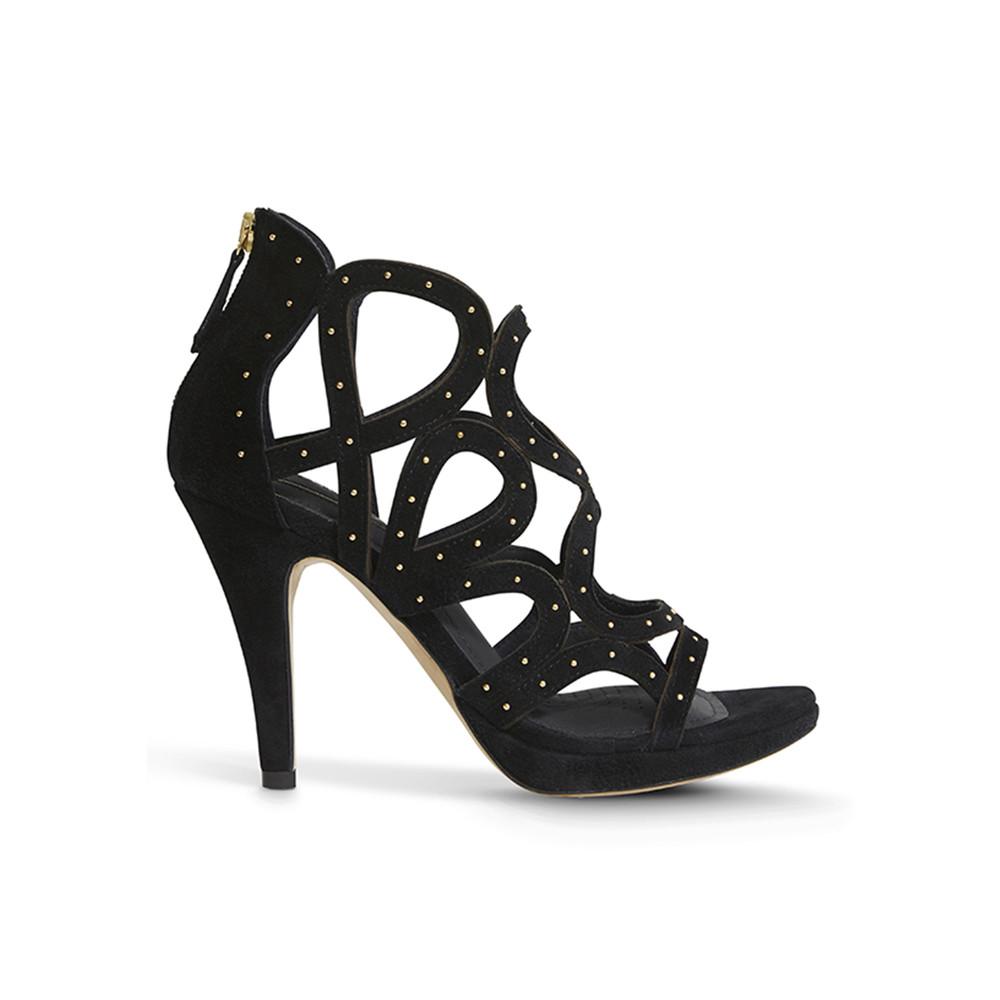 Redefined Suede Stud Heels - Black