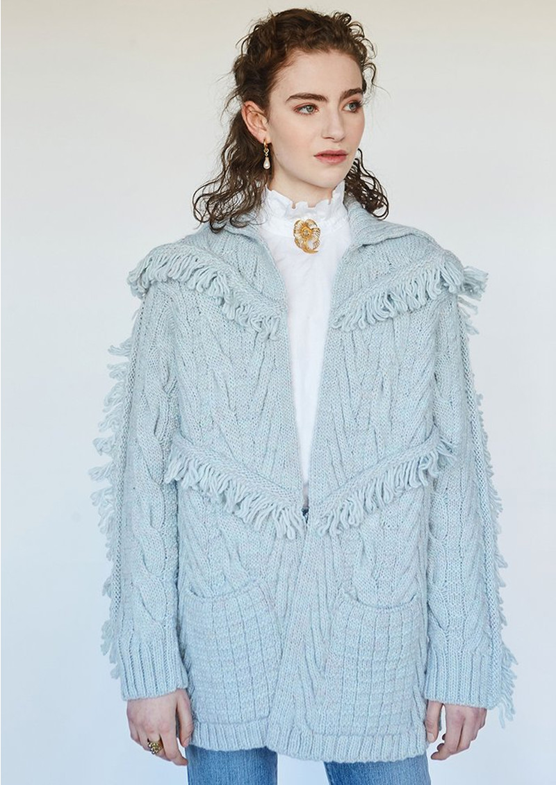 HAYLEY MENZIES Etta Short Knitted Cardigan - Ice main image