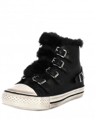 Ash Valko Faux Fur Leather Buckle Trainers - Black