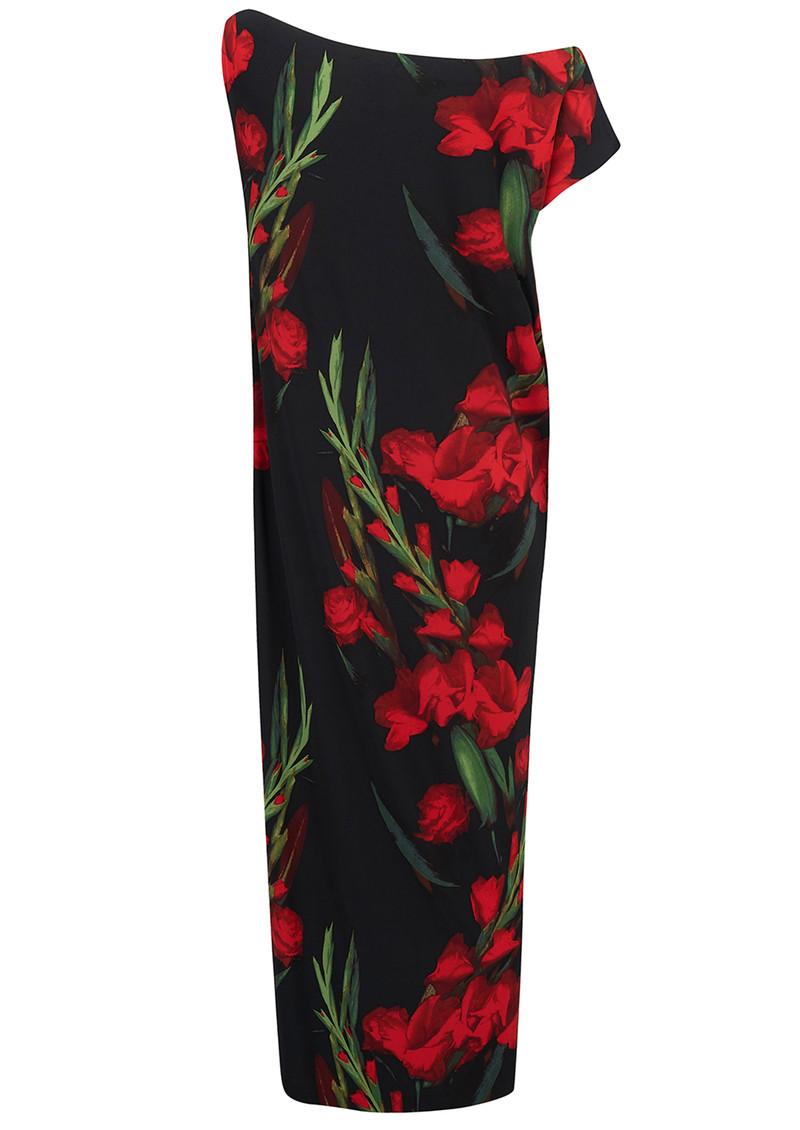 NORMA KAMALI Drop Shoulder Midi Dress - Bloom Roses main image