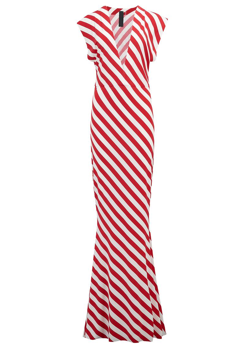 NORMA KAMALI V Neck Rectangle Dress - Tango Stripe main image