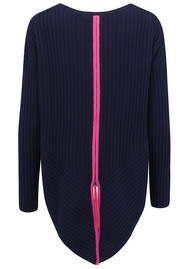 COCOA CASHMERE Zip Back Ribbed Jumper - Navy & Dayglow