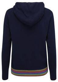 COCOA CASHMERE Rainbow Stripe Hoodie Jacket - Navy & Rainbow