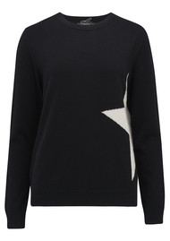 COCOA CASHMERE Side Star Lurex Jumper - Black & Oatmeal