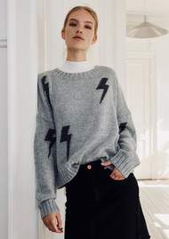 Rails Perci Knitted Sweater - Heather Grey Charcoal Lightning