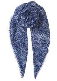 Becksondergaard Kofi Wool Mix Leopard Scarf - Dusty Blue