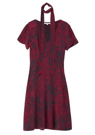 Lily and Lionel Lea Textured Silk Dress - Burgundy Leopard