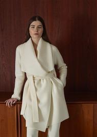 HARRIS WHARF Blanket Belted Coat - Off White