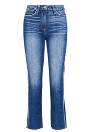 Paige Denim Hoxton Piping Stripe Straight Cropped Jeans - Indigo / Cream