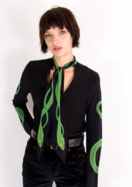 ROCKINS Mitred Silk Shirt - Green Snake
