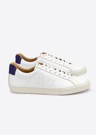 VEJA Esplar Bastille Leather Trainers - Extra White/ Electric Tilapia