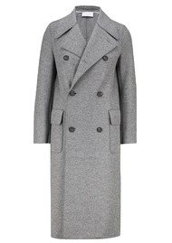 HARRIS WHARF Military Double Breasted Coat - Grey Mouline