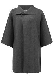 HARRIS WHARF Kimono Mantle Coat - Anthracite Mouline