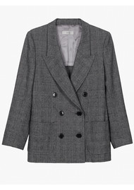 MAYLA Emmanuelle Double Breasted Check Blazer - Grey