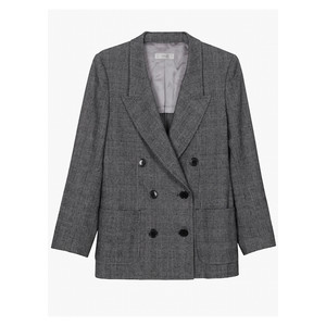 Emmanuelle Double Breasted Check Blazer - Grey