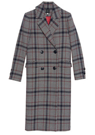 IDANO Citrouill Double Breasted Checked Coat - Marine