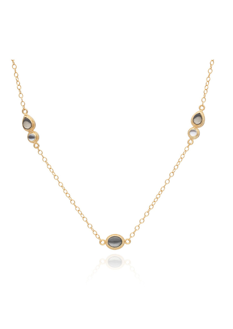 ANNA BECK Mirage Pyrite & Mother Of Pearl Station Necklace - Gold main image