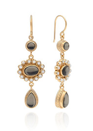 ANNA BECK Mirage Smokey Quartz & Mother Of Pearl Triple Drop Earrings - Gold