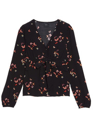 IDANO Wakame Butterfly Printed Top - Black