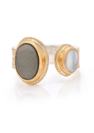 ANNA BECK Mirage Smooth Pyrite & Mother Of Pearl Open Ring - Gold