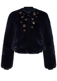 NOOKI Bee Faux Fur Bomber Jacket - Navy
