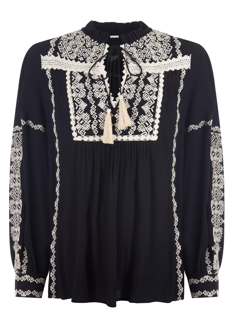 PK BERRY Keira Embroidered Blouse - Black main image
