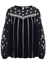 PK BERRY Oona Velvet Embroidered Blouse - Black