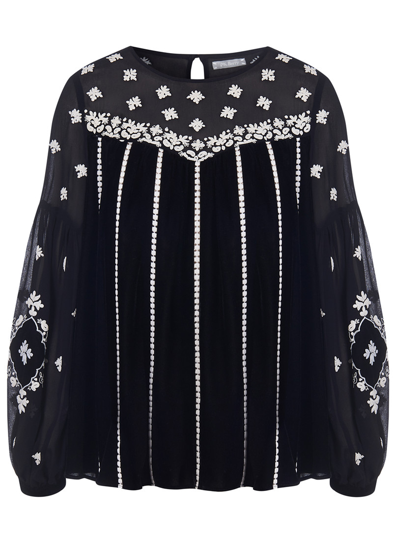 Oona Velvet Embroidered Blouse - Black main image