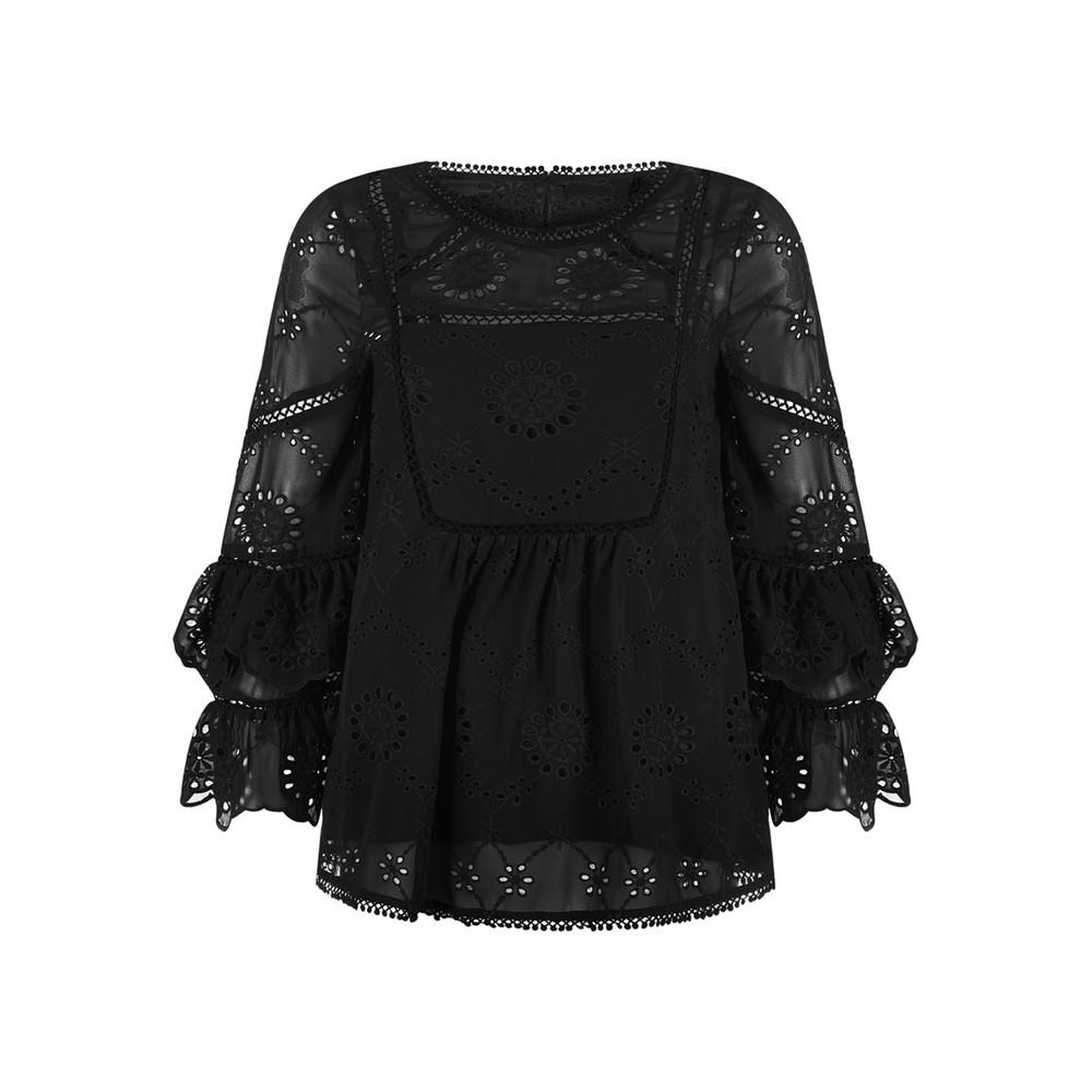 Adele Ruffle Blouse - Black