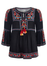 PK BERRY Beatrice Embroidered Blouse - Black