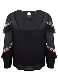 PK BERRY Violet Embroidered Blouse - Black
