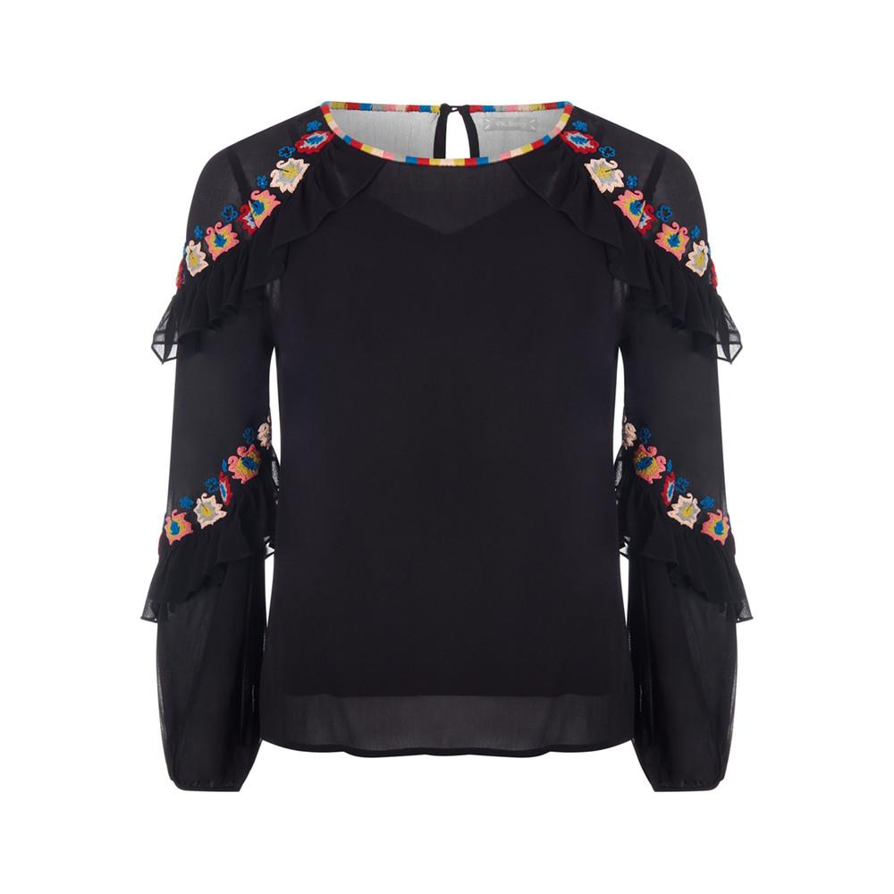 Violet Embroidered Blouse - Black