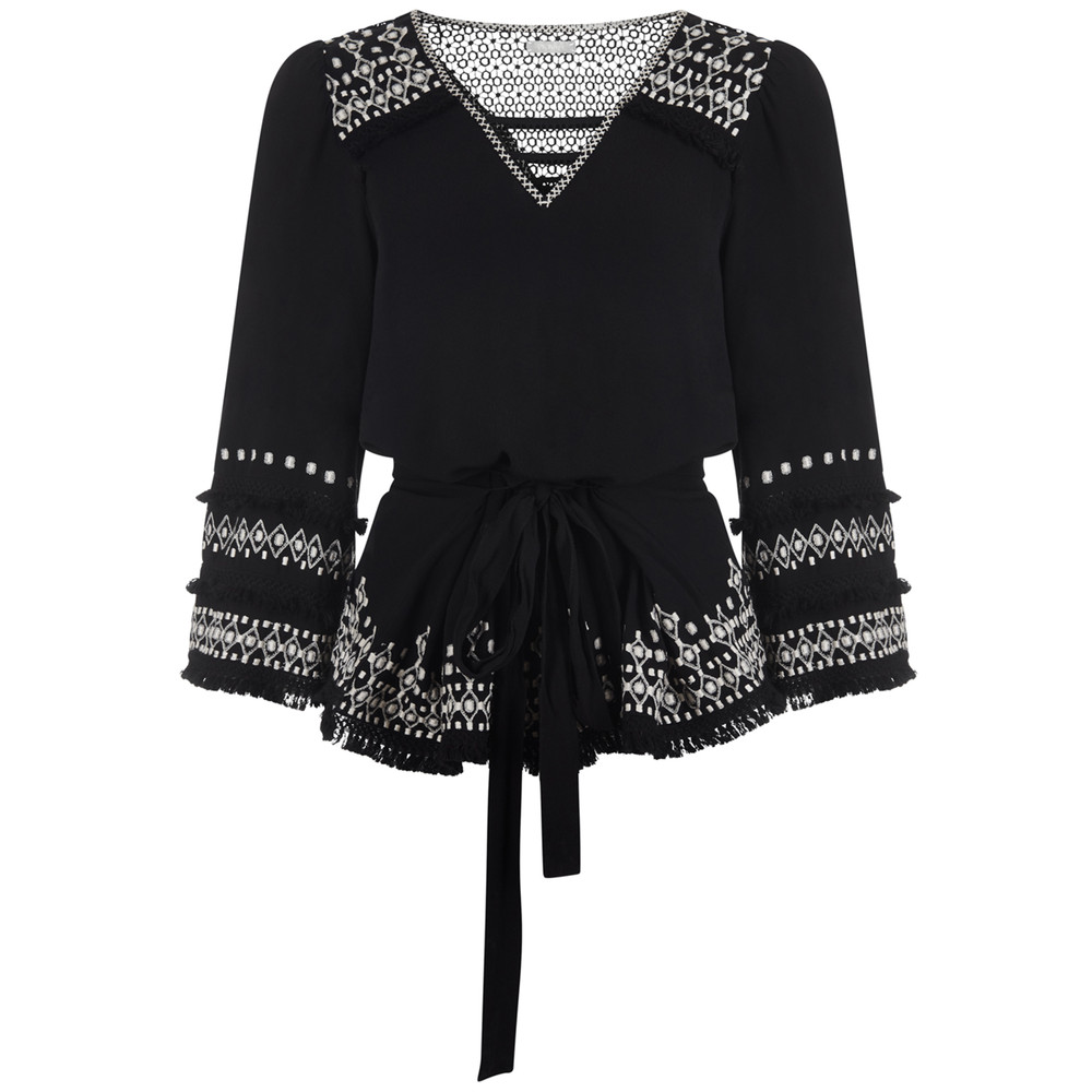 Mae Embroidered Top - Black