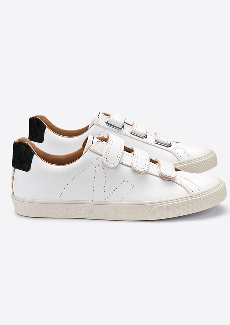 Esplar 3 Lock Leather Trainers   Extra White &Amp; Black Tilapia by Veja