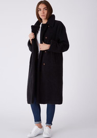 PARKA LONDON Alma Borg Faux Shirling Coat - Navy