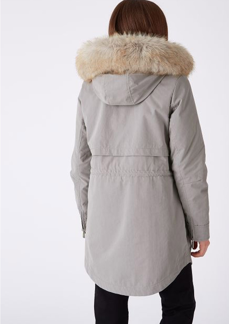 PARKA LONDON Caversham Faux Fur Lined Parka - Soft Grey main image