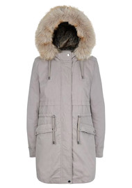 PARKA LONDON Caversham Faux Fur Lined Parka - Soft Grey