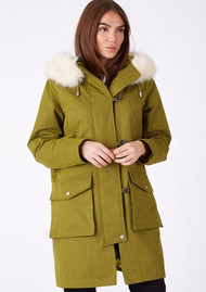 PARKA LONDON Aria Faux Fur Hood Parka - Moss Green