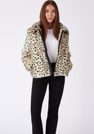 PARKA LONDON Balina Faux Fur Jacket - Beige Leopard