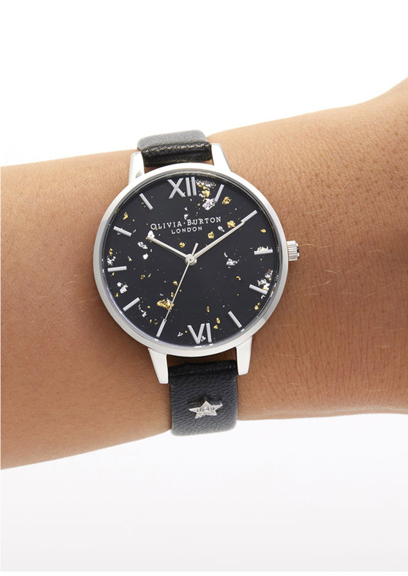 Celestial Star Demi Dial Watch - Black & Silver main image