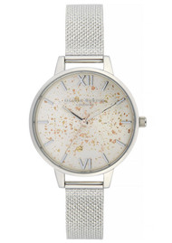 Olivia Burton Celestial Demi Dial Boucle Mesh Watch - Silver