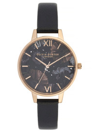 Olivia Burton Celestial Demi Dial Watch - Black & Rose Gold