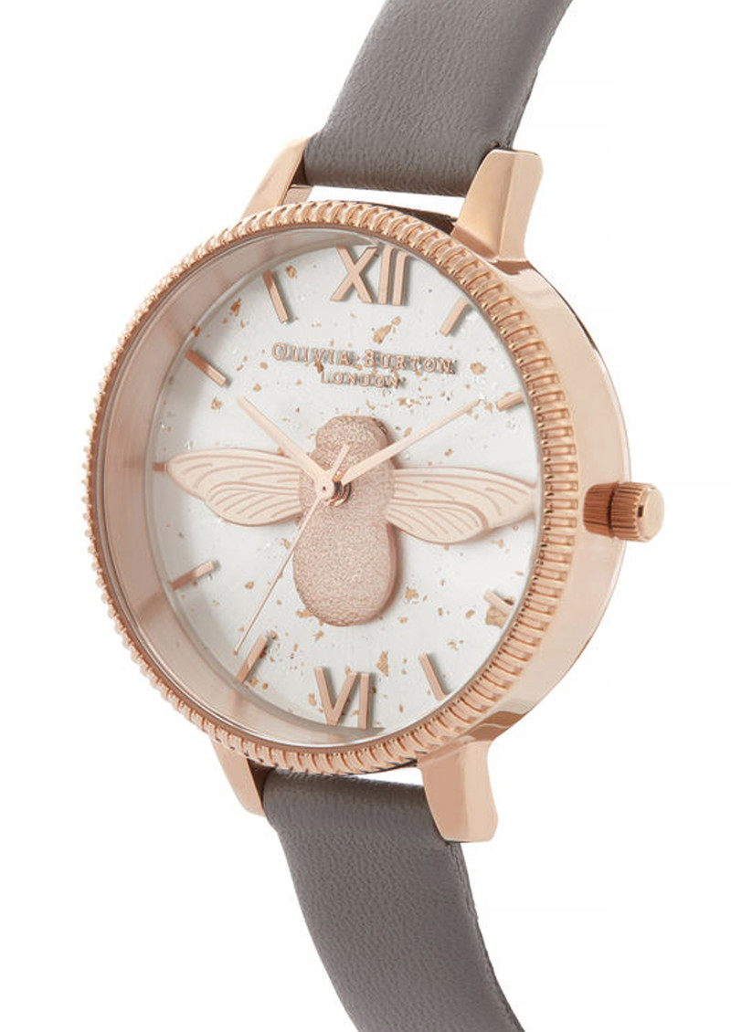 Olivia Burton Celestial 3D Bee Demi Dial Watch - London Grey & Rose Gold main image