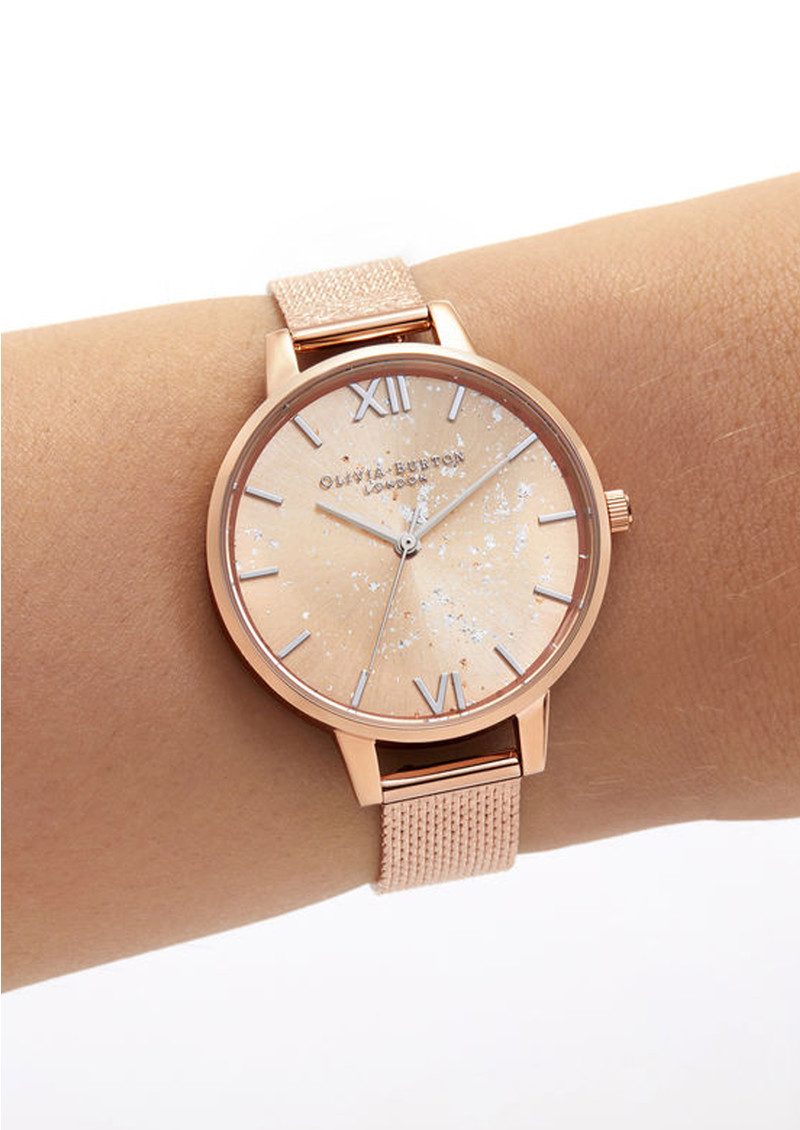 Olivia Burton Celestial Demi Dial Boucle Mesh Watch - Rose Gold main image