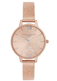 Olivia Burton Celestial Demi Dial Boucle Mesh Watch - Rose Gold