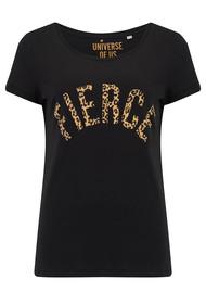 UNIVERSE OF US Fierce T-Shirt - Black & Leopard