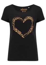 UNIVERSE OF US Heart Leopard T-Shirt - Black & Leopard