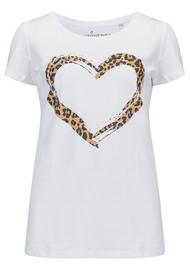 UNIVERSE OF US Heart Leopard T-Shirt - White & Leopard